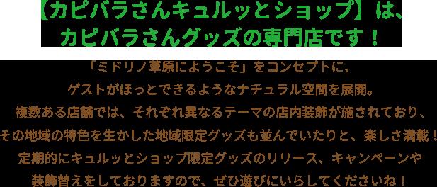 【カピバラさんキュルッとショップ】は、カピバラさんグッズの専門店です。
