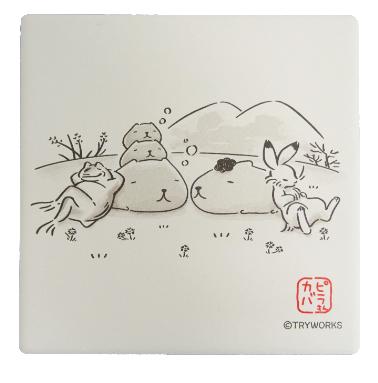 鳥獣戯画×カピバラさん白雲石コースター</br>お風呂/お昼寝